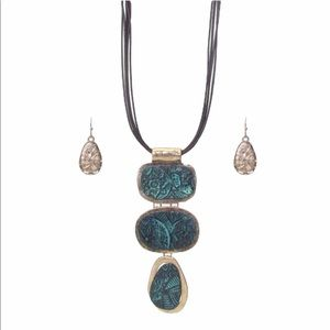 Textured triple metal necklace and earrings